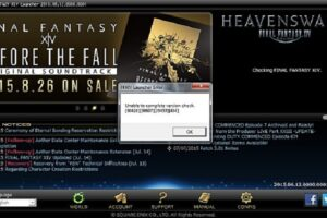 ffxiv unable to complete version check